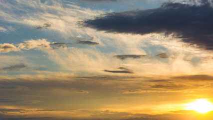 Beautiful sunset sky with clouds, background