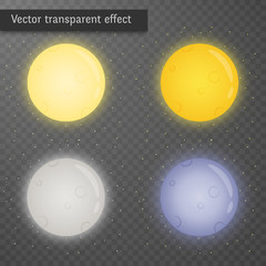 Full moon glowing on dark transparent background. Set of isolated elements with glowing edges. Kit of cliparts of various colours: yellow, blue, grey, orange.Vector illustration.