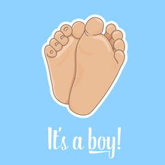 It is a boy announcement illustration. Newborn baby foot soles, barefoot, bottom view. Vector illustration, cartoon style. Tiny plump feet with cute heels and toes, isolated on blue background.