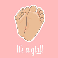 It is a girl announcement illustration. Newborn baby foot soles, barefoot, bottom view. Vector illustration, cartoon style. Tiny plump feet with cute heels and toes, isolated on pink background.
