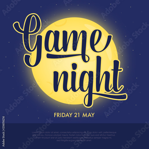 Game night announcement poster  Concept of night activity