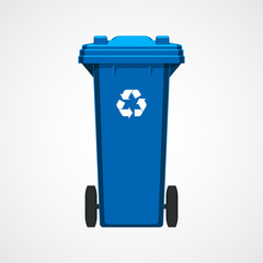 Blue recycle bin isolated on white background. Flat style. Vector.
