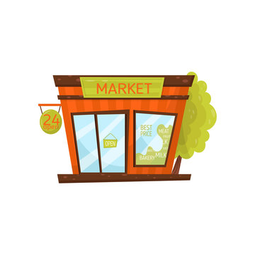 Small city market. Exterior of grocery store. Facade of public building with singboard, big glass door and window. Cartoon vector icon