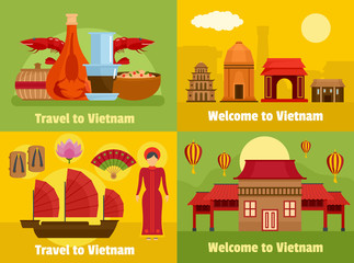 Welcome to Vietnam travel banner concept set. Flat illustration of 4 welcome to Vietnam travel vector banner horizontal concepts for web