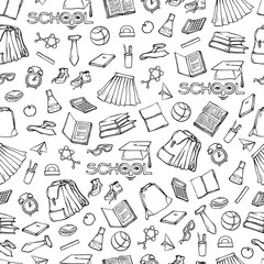 Vector school seamless pattern clothes stationery. Background various symbols education for design. Black white set sketch contour illustration. Drawn art stylized letters with face.