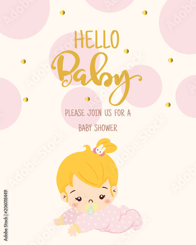 Cute Girl For Baby Shower Invitation Card Design Template Stock