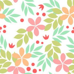 Colorful simple exotic leaves and flowers and berries seamless pattern, vector