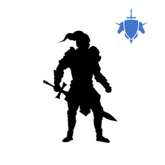 Black silhouette of medieval knight. Fantasy character. Games icon of paladin with sword. Isolated drawing of warrior