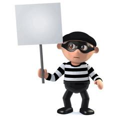 3d Funny cartoon criminal burglar character holding a placard