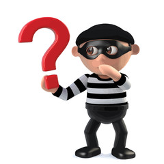 3d Funny cartoon criminal burglar character holding a question mark symbol