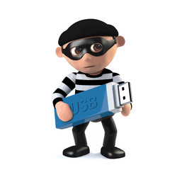 3d Funny cartoon burglar character takes a USB memory stick with data