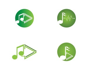 Music note icon logo template