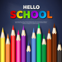 Hello school typography design with realistic colorful pencil. Paper cut style letters on blackboard background. Vector illustration.