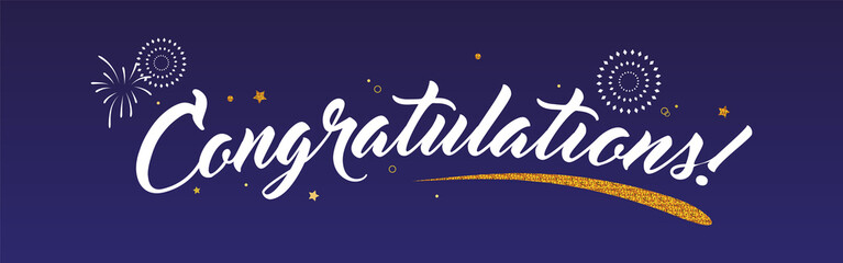 Congrats, Congratulations banner with glitter decoration and fireworks. Handwritten modern brush lettering dark background isolated vector