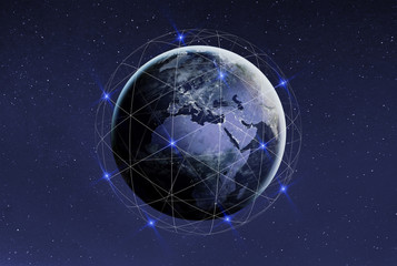 Blockchain and cryptocurrency concept. Global international business network and communication. Earth with satellites with copyspace. Elements of this photo furnished by NASA.