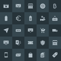 Modern Simple Set of money, mobile, email, shopping Vector fill Icons. Contains such Icons as new,  usd, mobile,  closed,  mobile,  gift and more on dark background. Fully Editable. Pixel Perfect.