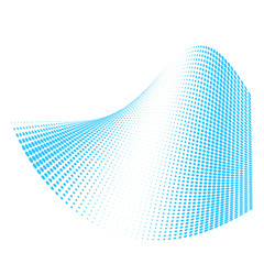 Dots swirl waves, halftone surface with 3d effect, vector abstract element