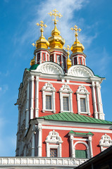 Detail of the Transfiguration of Jesus gate church located over the main entrance of the Novodevichy Convent in Moscow , Russia.