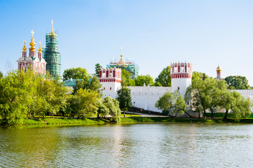 Novodevichy Convent, one of the UNESCO World Heritage Site, also Bogoroditse-Smolensky Monastery founded in 1524 by Grand Prince Vasili III in Moscow , Russia.