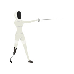 Cartoon athlete with physical disabilities fencing with rapier. Sword fighting. Combat sport. Flat vector design