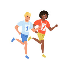 Two guys running marathon. Young men in sportswear with number on chest. Active and healthy lifestyle. Flat vector design