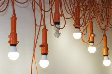 Photo of hanging light bulbs with depth of field. One light does not Shine. Leadership concept.