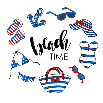 Beach time vector illustration. Swimsuit, eyeglasses, anchor, flipflops, tote bag and beach hat on white background.