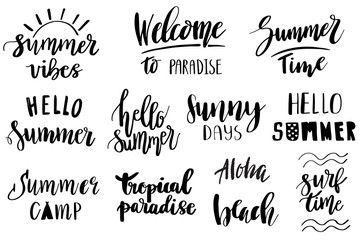 Set of hand drawn summer theme phrases. Modern lettering quotes.