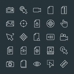 Modern Simple Set of video, photos, cursors, files Vector outline Icons. Contains such Icons as  scroll,  television,  pointer,  goal,  dslr and more on dark background. Fully Editable. Pixel Perfect.
