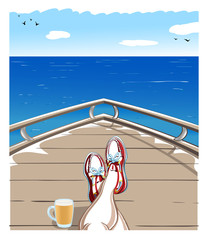 Selfie with Men, Topsiders Shoes and Beer Mug on a Yacht