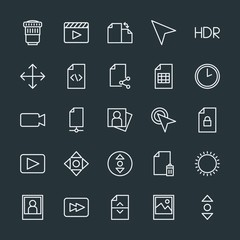 Modern Simple Set of video, photos, cursors, files Vector outline Icons. Contains such Icons as cursor,  entertainment,  cinema, file,  file and more on dark background. Fully Editable. Pixel Perfect.