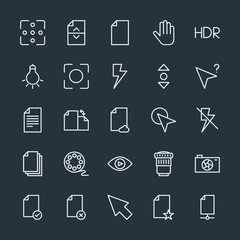 Modern Simple Set of video, photos, cursors, files Vector outline Icons. Contains such Icons as  equipment,  divider,  file, office,  paper and more on dark background. Fully Editable. Pixel Perfect.