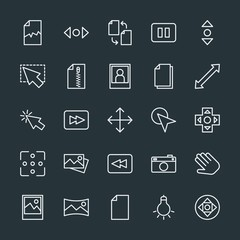 Modern Simple Set of video, photos, cursors, files Vector outline Icons. Contains such Icons as  photography,  document,  cursor, bulb, stop and more on dark background. Fully Editable. Pixel Perfect.