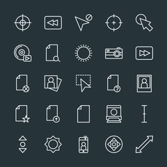 Modern Simple Set of video, photos, cursors, files Vector outline Icons. Contains such Icons as  background,  phone, player, light,  success and more on dark background. Fully Editable. Pixel Perfect.