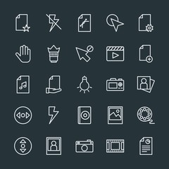 Modern Simple Set of video, photos, cursors, files Vector outline Icons. Contains such Icons as  video,  graphic, file,  vertical, document and more on dark background. Fully Editable. Pixel Perfect.