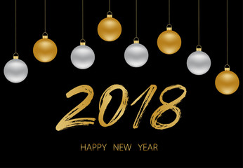 New year background with glamour golden ball, silver ball