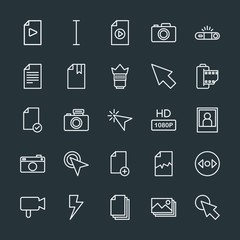 Modern Simple Set of video, photos, cursors, files Vector outline Icons. Contains such Icons as  shot,  book,  text,  document,  picture and more on dark background. Fully Editable. Pixel Perfect.