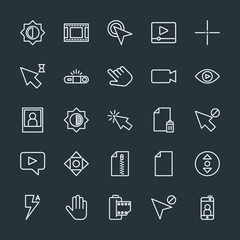Modern Simple Set of video, photos, cursors, files Vector outline Icons. Contains such Icons as  web,  fashion,  black,  video,  scroll and more on dark background. Fully Editable. Pixel Perfect.