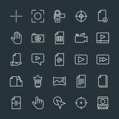 Modern Simple Set of video, photos, cursors, files Vector outline Icons. Contains such Icons as  cursor, file, download,  office,  digital and more on dark background. Fully Editable. Pixel Perfect.