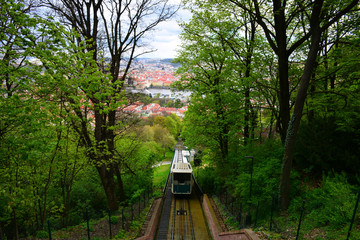Cable railway with cityscape background.  Prague. Public transportation.