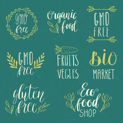 Eco, nature, vegan, bio food logos. Handwritten lettering. Vector elements for labels, logos, badges, stickers or icons. Calligraphic and typographic collection.