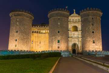 Night view of Castel Nuovo in Naples, Italy