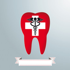 Tooth Hole White Cross Aesculapian Staff
