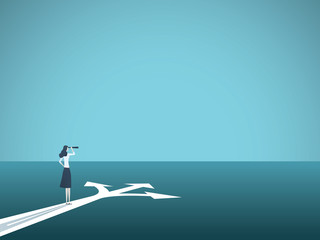 Business or career decision vector concept. Businesswoman standing at crossroads. Symbol of challenge, choice, change, new opportunity.