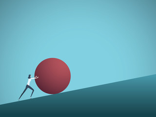 Business challenge vector concept with businesswoman as sisyphus pushing rock uphill. Symbol of difficulty, ambition, motivation, struggle.