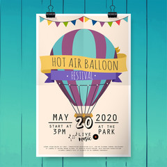 Hot air balloon festival. Festival poster or flyer template. Flat vector illustration.