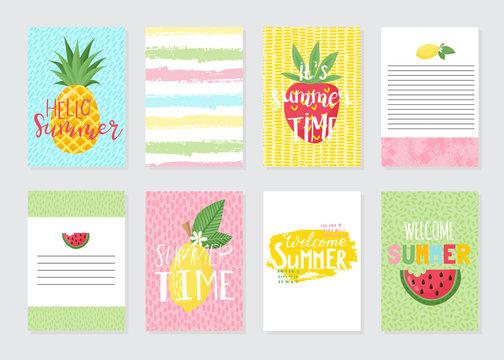 Vector set of bright summer cards