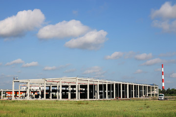 new factory on green field construction site