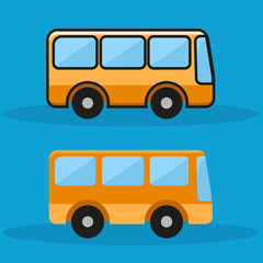 bus design on blue background