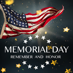 Wall Mural - American flag with the text Memorial day.